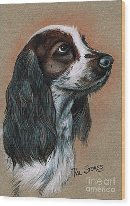 Cocker Spaniel Wood Print by Val Stokes