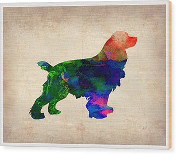 Cocker Spaniel Watercolor Wood Print by Naxart Studio
