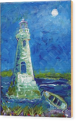 Wood Print featuring the painting Cockspur Lighthouse Mini #7 by Doris Blessington