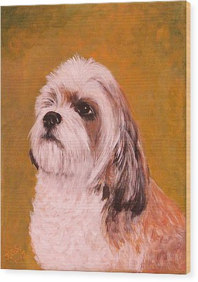 Wood Print featuring the painting Coco-puffs by Janet Greer Sammons