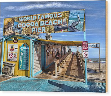 Cocoa Beach Pier In Florida Wood Print by David Smith