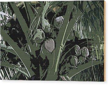 Wood Print featuring the digital art Coconut Palms by Karen Nicholson