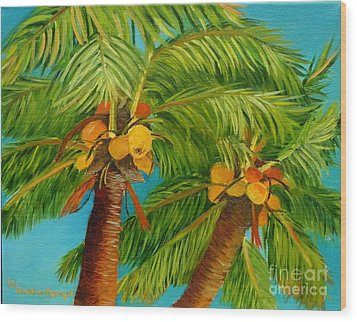 Wood Print featuring the painting Coco's In The Keys - Key West Palm Tree With Coconuts by Shelia Kempf