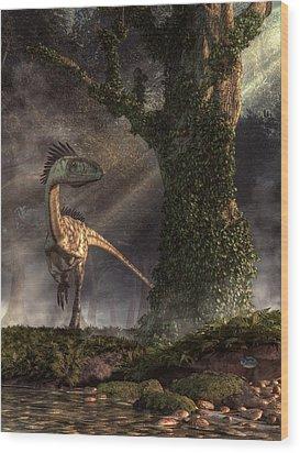 Coelophysis Wood Print by Daniel Eskridge