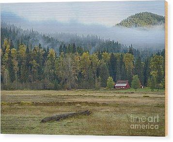 Coeur D Alene River Farm Wood Print by Idaho Scenic Images Linda Lantzy