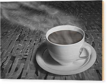 Coffe Cup And Saucer With Alphabet Lettering Wood Print by Randall Nyhof