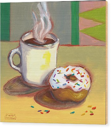 Wood Print featuring the painting Coffee And Donut by Susan Thomas