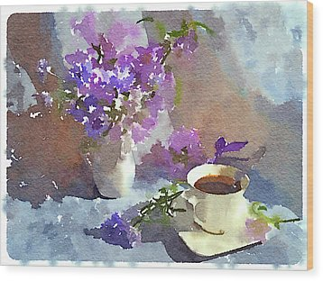 Coffee And Flowers Wood Print by Yury Malkov