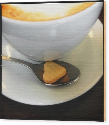 Coffee And Heart Shaped Cookie Wood Print by Matthias Hauser