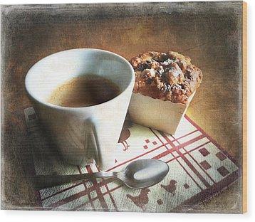 Coffee And Muffin Wood Print by Barbara Orenya