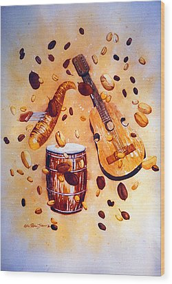 Coffee And Music Wood Print by Estela Robles