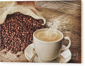 Coffee And Sack Of Coffee Beans Wood Print