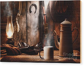 Coffee At The Cabin Wood Print by Olivier Le Queinec
