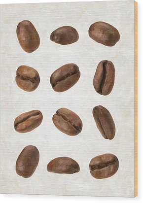 Coffee Beans Wood Print by Danny Smythe