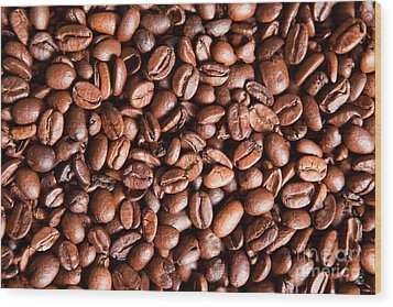 Coffee Beans  Wood Print by Sharon Dominick
