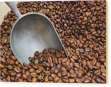 Coffee Beans With Scoop Wood Print by Jason Politte