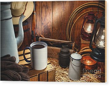 Coffee Break At The Chuck Wagon Wood Print by Olivier Le Queinec