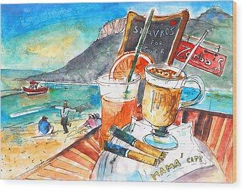 Coffee Break In Stavros In Crete Wood Print by Miki De Goodaboom