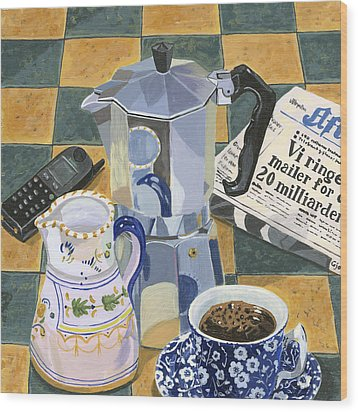 Coffee Break Wood Print by Jane Dunn Borresen