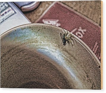 Wood Print featuring the digital art Coffee Cup Spider Fly Oh My by Robert Rhoads