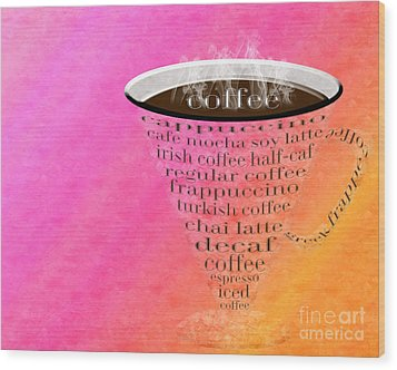 Coffee Cup The Jetsons Sorbet Wood Print by Andee Design