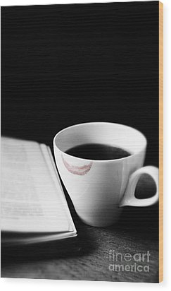 Coffee Cup With Lipstick Mark And Book Wood Print