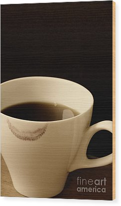 Coffee Cup With Lipstick Mark Wood Print by Birgit Tyrrell