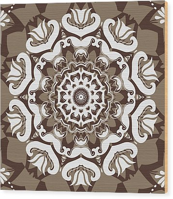 Coffee Flowers 10 Ornate Medallion Wood Print by Angelina Vick