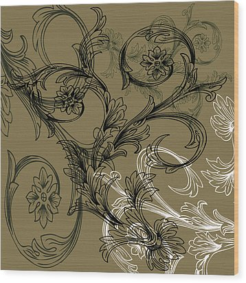 Coffee Flowers 3 Olive Wood Print by Angelina Vick