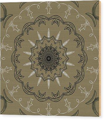 Coffee Flowers 3 Olive Ornate Medallion Wood Print by Angelina Vick