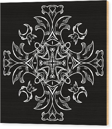 Coffee Flowers 7 Bw Ornate Medallion Wood Print by Angelina Vick
