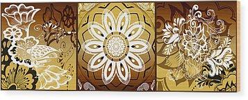Coffee Flowers Calypso Triptych 2 Horizontal   Wood Print by Angelina Vick