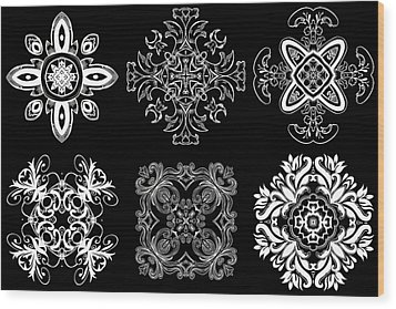 Coffee Flowers Ornate Medallions Bw 6 Peice Collage Wood Print by Angelina Vick