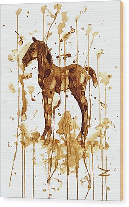 Coffee Foal Wood Print by Zaira Dzhaubaeva