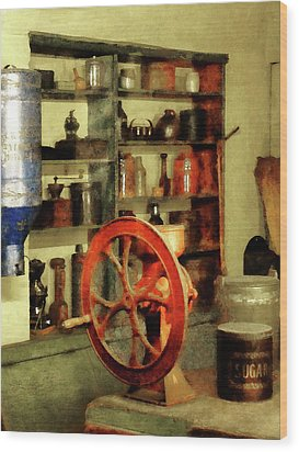 Coffee Grinder And Canister Of Sugar Wood Print by Susan Savad