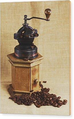 Coffee Grinder Wood Print by Falko Follert
