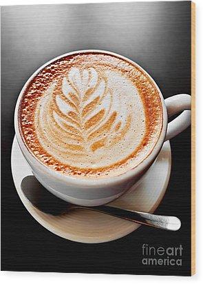 Coffee Latte With Foam Art Wood Print by Elena Elisseeva