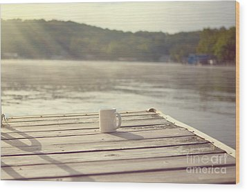 Coffee On The Dock Wood Print by Kay Pickens