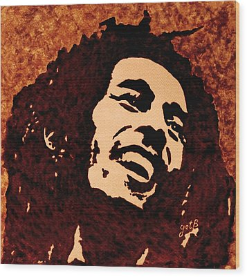 Coffee Painting Bob Marley Wood Print
