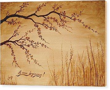 Coffee Painting Cherry Blossoms Wood Print by Georgeta  Blanaru