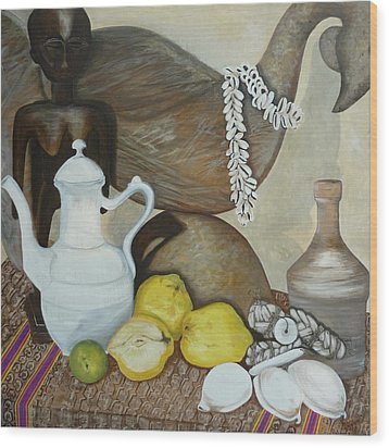 Coffee Pot Wood Print by Helen Syron
