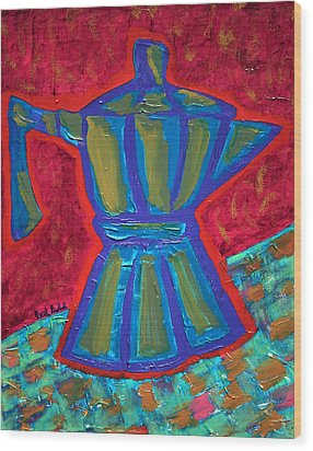 Coffee Pot  Wood Print by Oscar Penalber