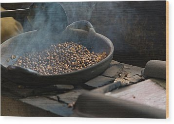 Wood Print featuring the photograph Coffee Roasting - Bali by Matthew Onheiber