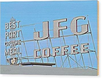 Coffee Sign Wood Print