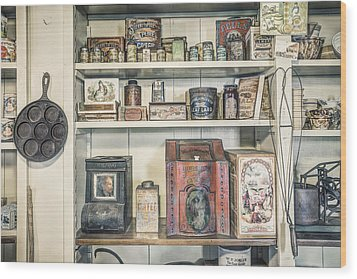 Coffee Tobacco And Spice - On The Shelves At A 19th Century General Store Wood Print by Gary Heller
