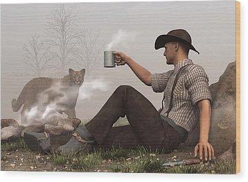 Coffee With A Cougar Wood Print by Daniel Eskridge