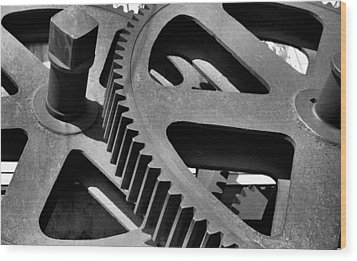 Wood Print featuring the photograph Cogwheels In Black And White by Nadalyn Larsen