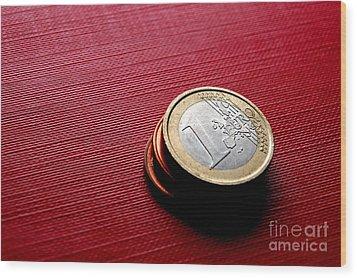 Coins Euro Wood Print by Michal Bednarek