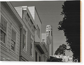 Wood Print featuring the photograph Coit Tower by Alex King