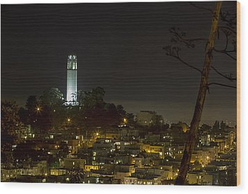 Coit Tower By Night Wood Print